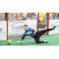 Baltimore Blast goalkeeper William Vanzela dives for a loose ball