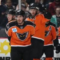 Lehigh Valley Phantoms center Mike Vecchione and the Phantoms lineup