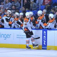 Lehigh Valley Phantoms center Byron Froese receives congratulations from the bench