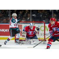 Kelowna Rockets right wing Leif Mattson sets up in front of the Spokane Chiefs goal